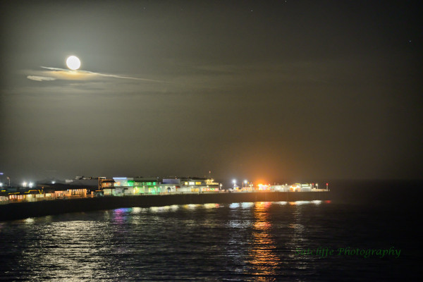 Full Moon Over Santa Cruz Pier