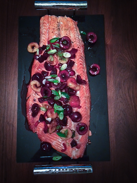Copper River Salmon with Sweet, Hot Cherry Salsa