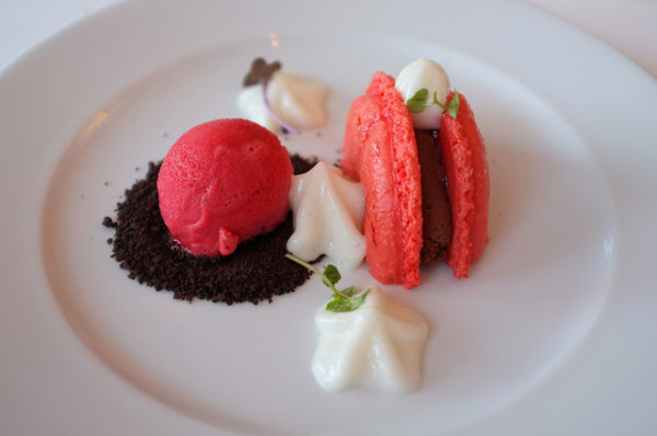 Raspberry Chocolate Macaron,