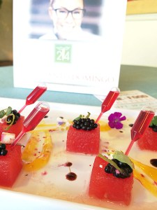 Executive Chef Ashley Santo Domingo, 24 carrots – Compressed watermelon bites with a hibiscus and basil syrup shooter, jalapeño dusted blackberries and micro cilantro