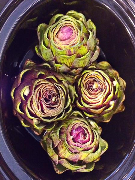 Slow Cooker Artichokes, artichoke tips