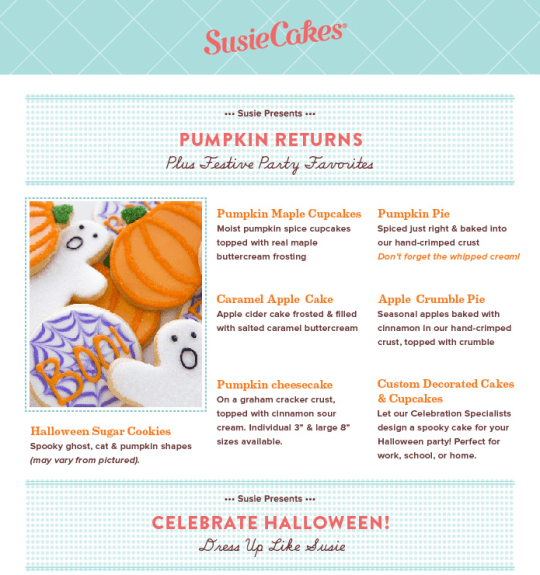 Susie Cakes Fall Specials