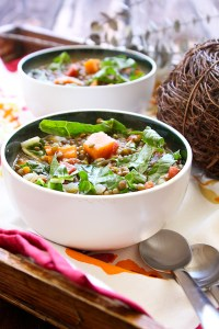 Squash and Lentil Soup with Chard