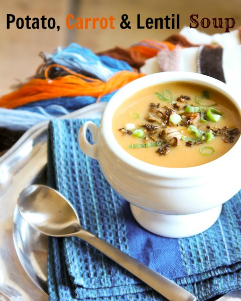 Potato, Carrot and Lentil Soup in a white bowl