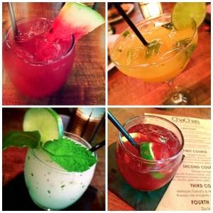 Watermelon Margarita, Mango Habanero Margarita, PlatinumMojito, and Sangria Tradicional