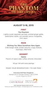 Weatherby's Cafe Rouge, Phantom of the Opera menu