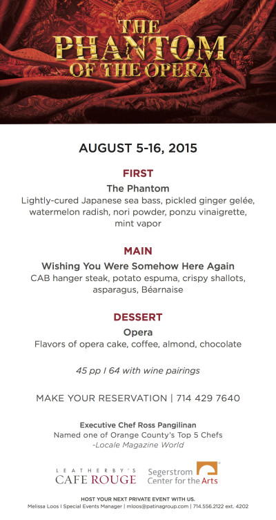 Weatherby's Cafe Rouge, Phantom of the Opera menu