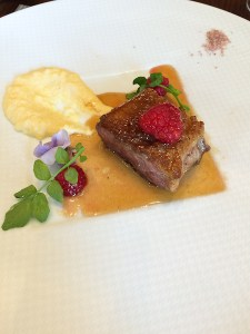 Duck Breast with Raspberry and Lavender Polenta - St. Regis, Osaka
