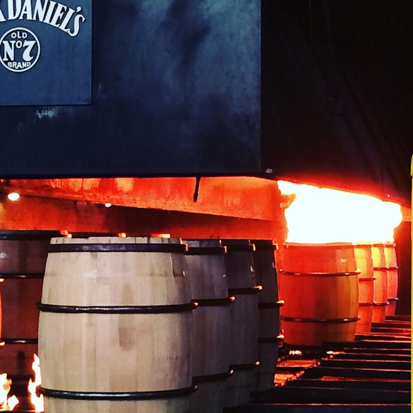 Charring barrels for Jack Daniels No. 7 | ShesCookin.com | #travel #Louisville