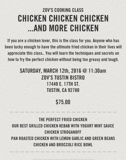 Zov's Chicken Cooking Class