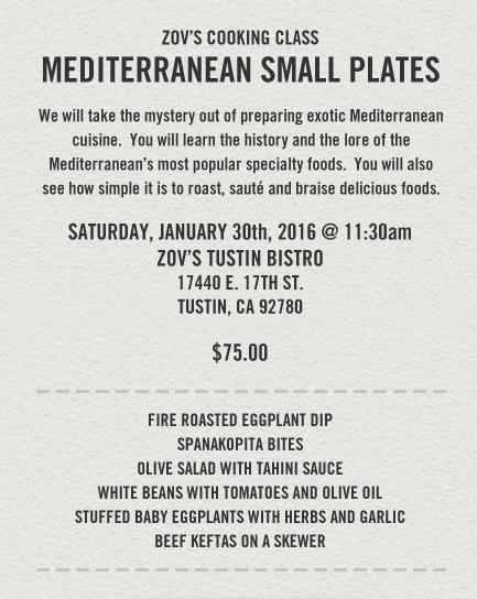 Zov's Mediterranean Cooking Class