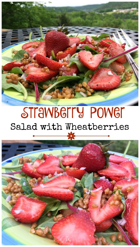Strawberry Power Salad with Wheatberries | ShesCookin.com