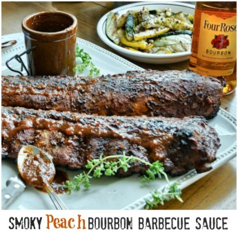 Smoky Peach Bourbon Barbecue Sauce | ShesCookin.com