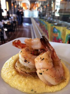 Wood-fired Grilled Shrimp, Fried Green Tomato and Polenta | ShesCookin.com