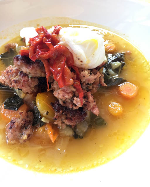 Housemade Fennel Sausage with Braised Cavolo Nero and Calabrian Chile - Pizzeria Ortica Sunday Brunch | ShesCookin.com