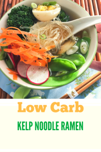 Low Carb kelp noodle ramen with broccoli, snow peas, carrots and radishes