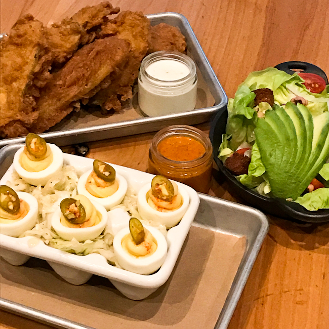 Smoked Deviled Eggs and Fried Pickles | ShesCookin.com