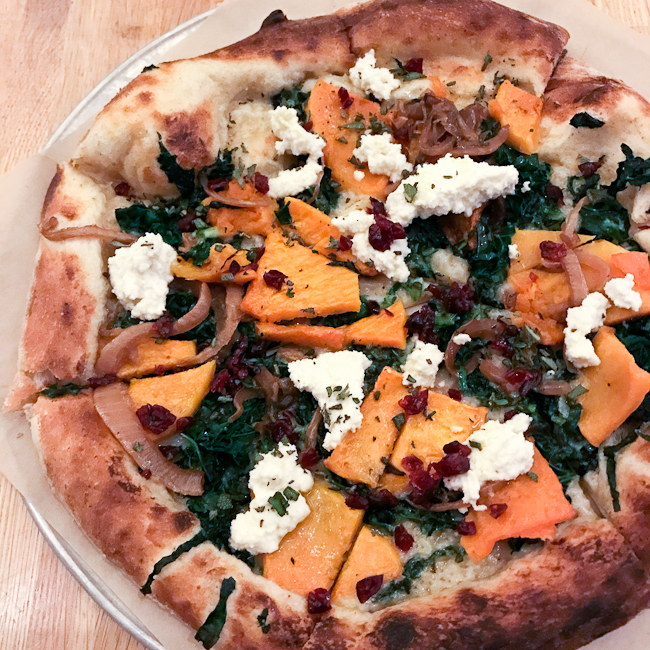 Vegan Butternut Squash pizza with garlic puree, True Food Kitchen