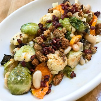 Seasonal Ingredient Salad - Brussels sprouts, cauliflower, Butternut squash, toasted mulberries, dried pomegrantes