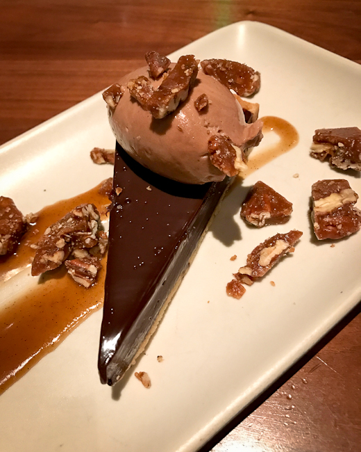 Espresso Tart with Chocolate Gelato, Caramel and Pecans