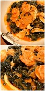 Squid Ink Mafaldine - white shrimp, calamari, acqua pazza, mint, fennel pollen, calabrian chili