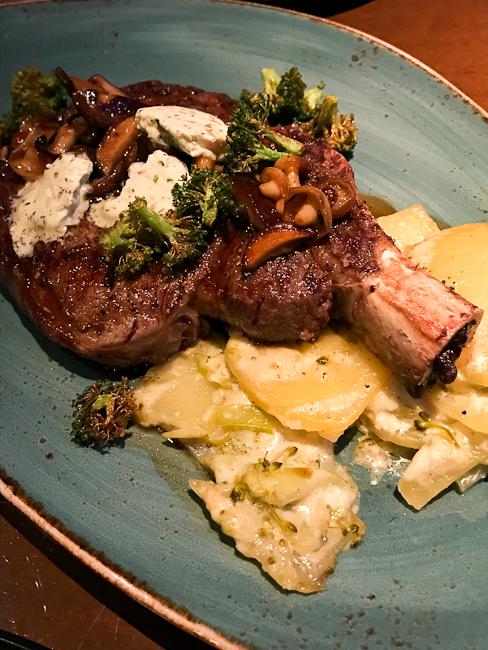 16 oz Bone-in Ribeye | bone marrow butter, broccoli potato au gratin, marsala jus