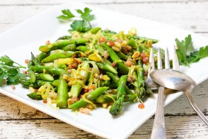 Addictive Asparagus with Pancetta and Pine Nuts