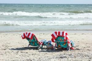 Colorful beach chairs at the shore, Emerald Isle, North Carolina Crystal Coast | ShesCookin.com