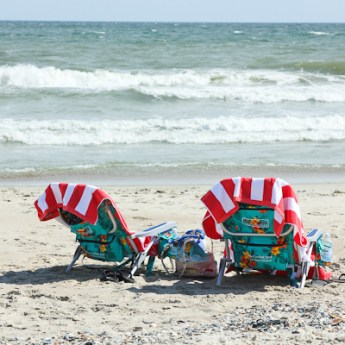 Colorful beach chairs at the shore, Emerald Isle, North Carolina Crystal Coast | ShesCookin.com