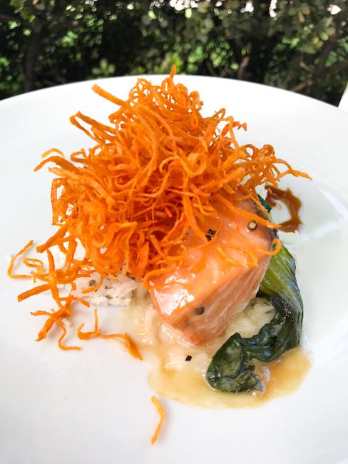 Salmon with Bok Choy, Spaghettini Seal Beach   ShesCookin.com