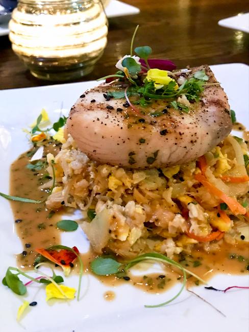 Grilled Mahi Mahi and Blue Crab Fried Rice, SeaLegs | ShesCookin.com