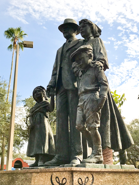 Immigrant statue in Ybor City, Tampa, Florida