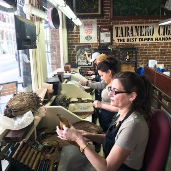 Hand rolling cigars at Tabenero Cigars, Ybor City, Tampa, Florida