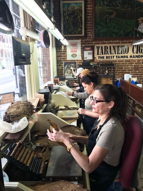 Hand rolling cigars at Tabenero Cigars, Ybor City, Tampa, Florida