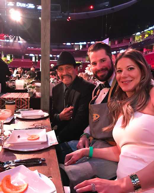 Anaheim Ducks Ryan Kesler with his wife and Actor Danny Trejos