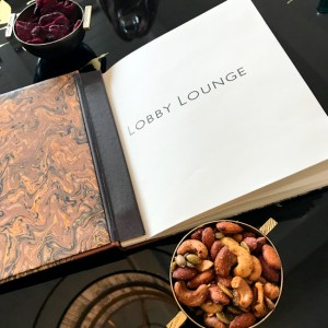 Lobby Lounge menu and spiced nuts at Montage Laguna Beach