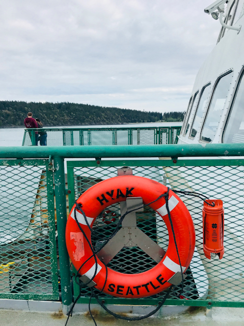 Red life preserver on Washington state ferry boat