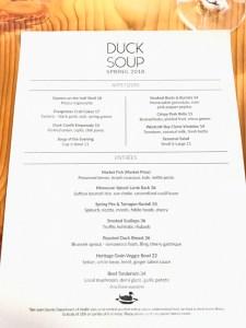 Duck Soup restaurant Spring 2018 menu