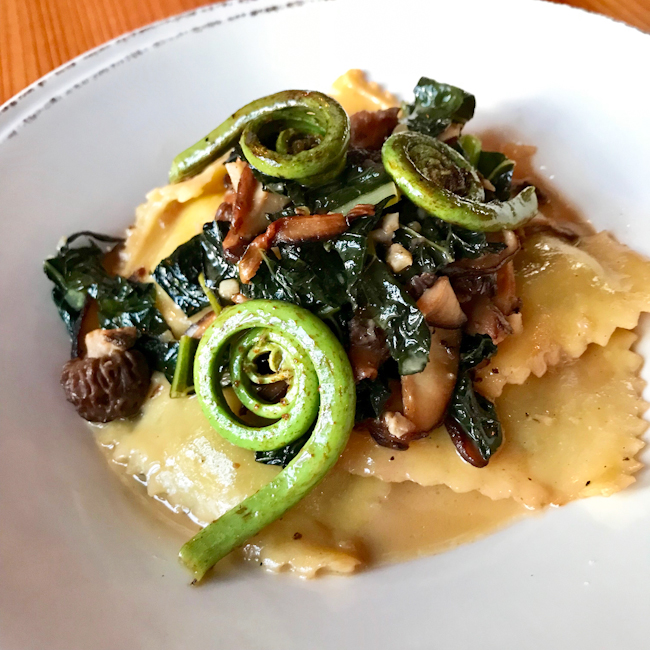 Spring Pea and Tarragon Ravioli with Chard, Morels and Fiddle Heads, Duck Soup restaurant, San Juan Island