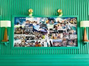 surfer photos and memorabilia on the wall at Jan's Huntington Beach