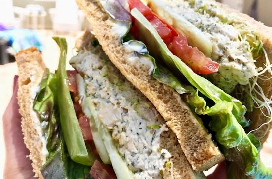 Chicken Salad Sandwich in hand