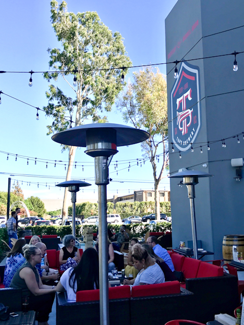 Patio area at TAPS Brewery & Barrel Room in Tustin
