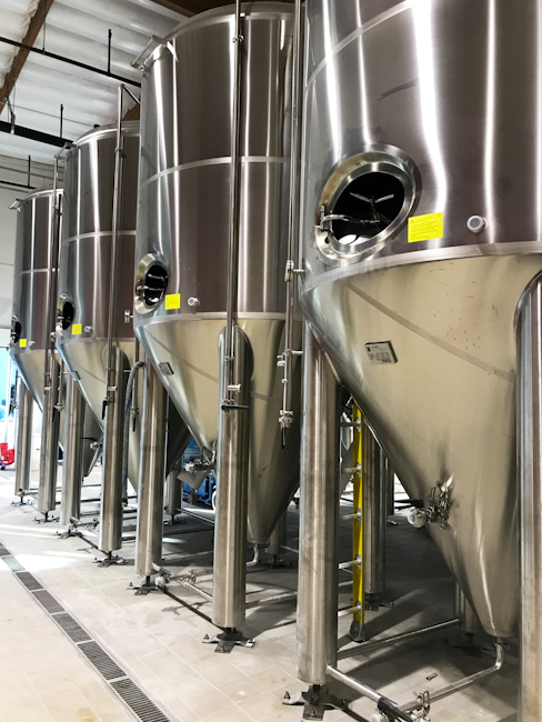 Brewing tanks at TAPS Brewery and Barrel Room