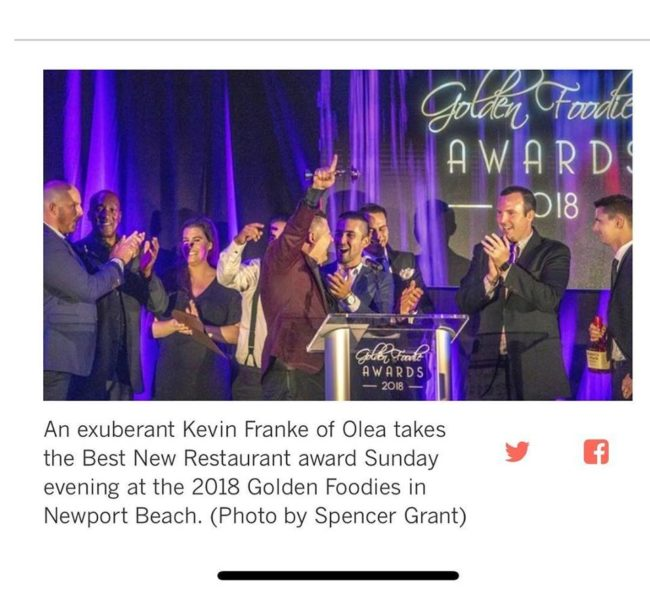 Olea restaurant team win for Best New Restaurant, 2018 Golden Foodie Awards