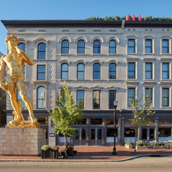 statue of David at 21c Museum Hotel Louisville