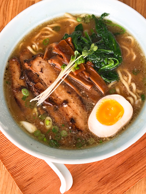 Bowl of shoyu ramen at HiroNori Craft Ramen in Irvine, California