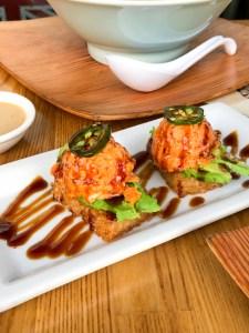 Crispy rice with spicy tuna at HiroNori Craft Ramen, Irvine, CA