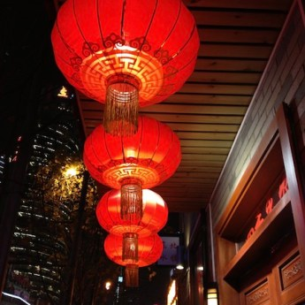 Red lanterns on street in Shanghai