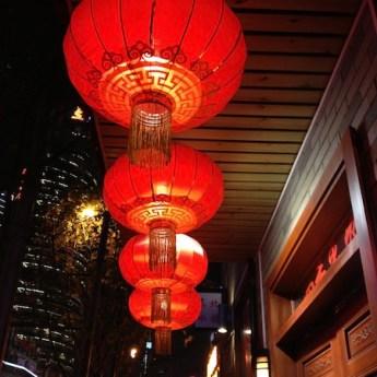 Red lanterns on street in Shanghai
