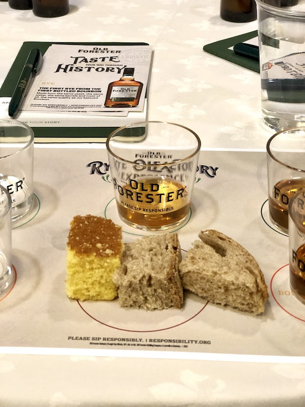 Cornbread, rye bread and wheat bread at a bourbon tasting experience